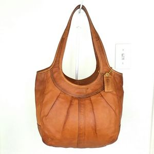 Coach Ergo Pleated Tan Leather Shoulder Hobo Bag!